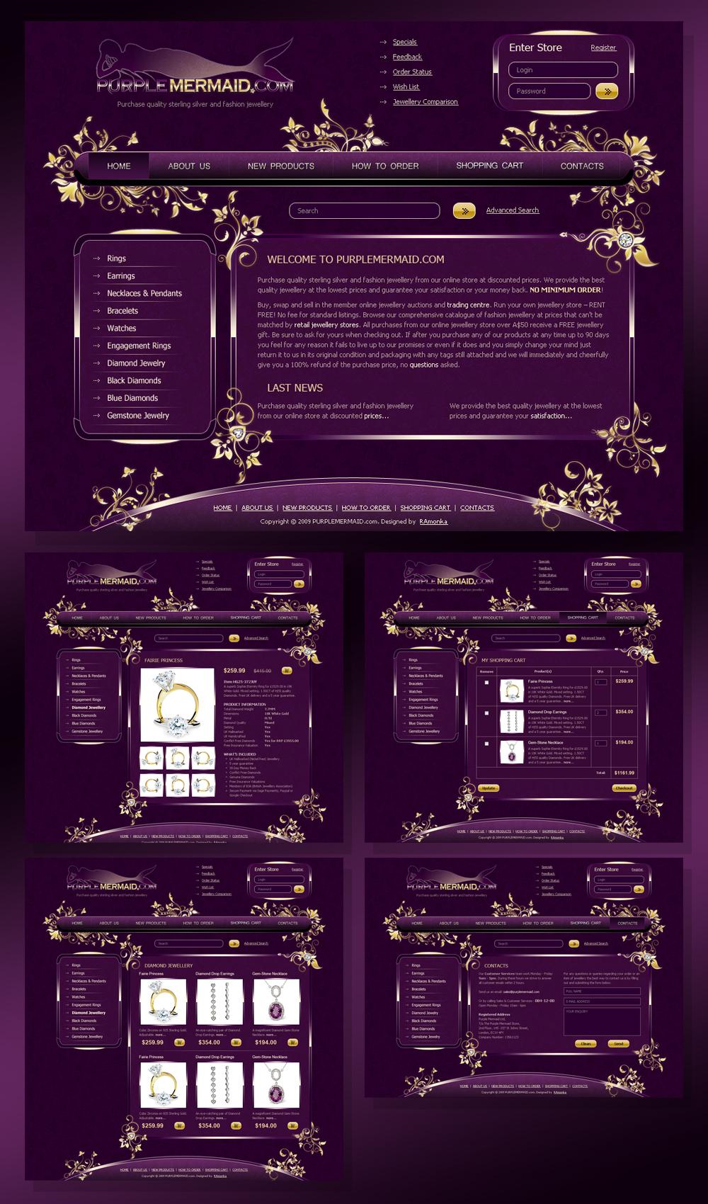 Разработка сайта под ключ для ювелирного онлайн-магазина Purple Mermaid