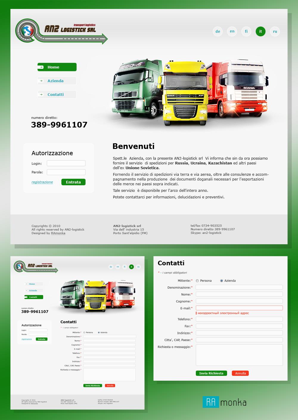 Дизайн сайта для транспортно-логистической компании AN2-Logistick S.R.L.