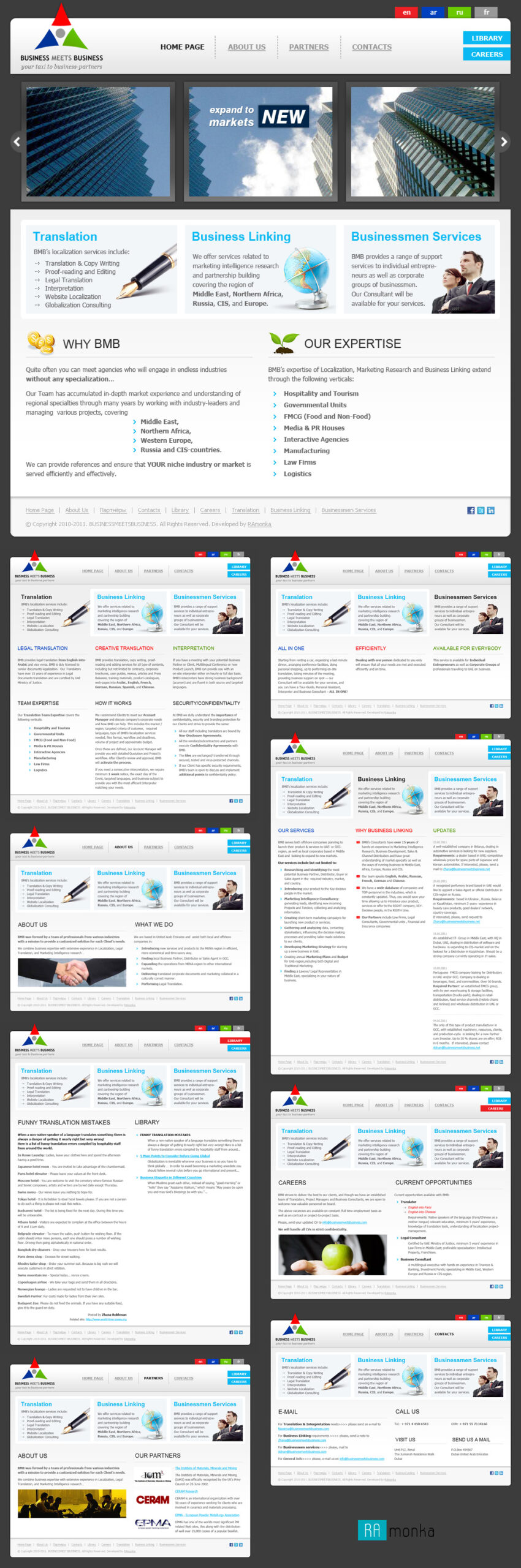 Веб-разработка мультиязычного сайта под ключ на CMS Joomla для компании Business Meets Business